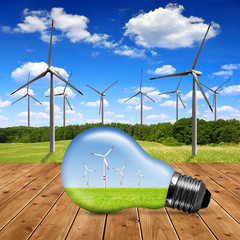 Wind turbines in bulb - Green energy concept
