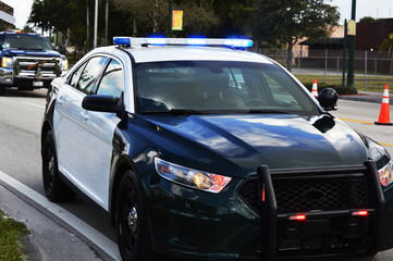 Police Car Lights on