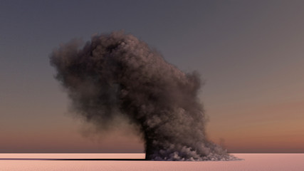 large smoke in the desert