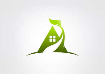 house logo abstract real estate countryside , eco realty icon