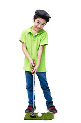Little boy taking golf  club