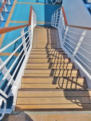 Wooden cruise ship deck steps