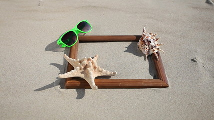 Wooden frame border blank space with starfish and sunglasses