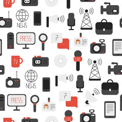 Seamless pattern of of flat colorful vector journalism icons.