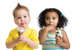 kids boy and girl eating ice cream isolated