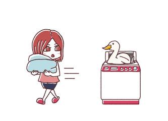洗濯機とアヒル