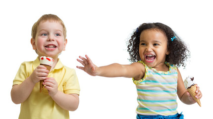Happy kids boy and girl eating ice cream isolated