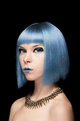 Anime model girl with blue hair