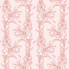 Retro floral pattern in pink