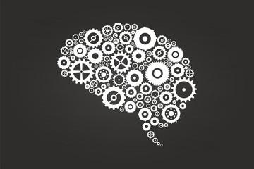 Brain Gears And Cogs On Blackboard