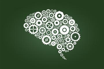 Brain Gears And Cogs On Green Chalkboard
