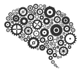 Brain Section Made Of Cogs And Gears