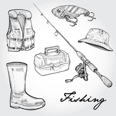 Fishing equipment, icon set. Hand drawn Vector