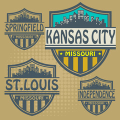 Label set with names of Missouri cities