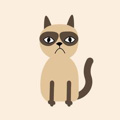 Cute sad grumpy siamese cat in flat design style.