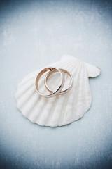 Rose wedding rings on seashell