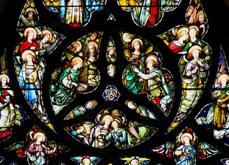 Colourful   stained glass rose window panel in Edinburgh