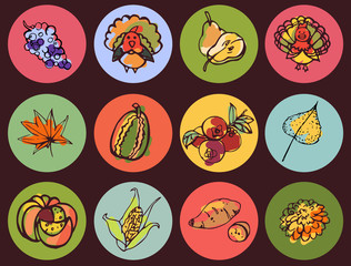 Bright round icons Thanksgiving in style color sketch