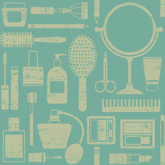 Vintage seamless pattern with various cosmetic objects