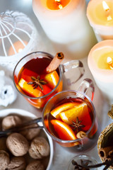Christmas background with mulled wine