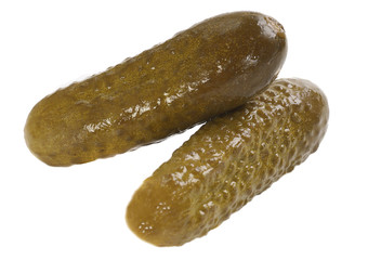 pickled gherkins on white