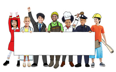 Children in Dreams Job Uniform Holding Banner