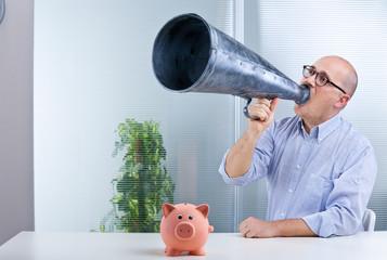 man megaphone and pig mean savings