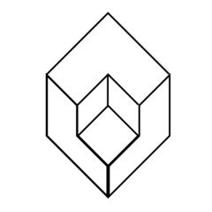 Isometric object- architectural logo-axonometric view