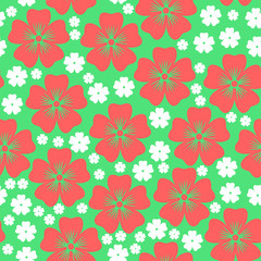 Pink and white flowers pattern seamless