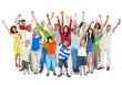 Multi-Ethnic Diverse Mixed Age People Celebrating