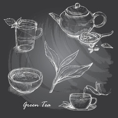 Hand drawn sketch vector tea set on blackboard.