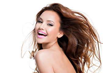 beautiful happy smiling expressive woman with long hairs