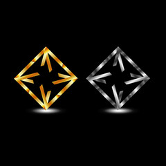 Symmetric square business logo in gold and silver colors