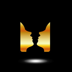 Two faces side by side- logo with illusion of a vase