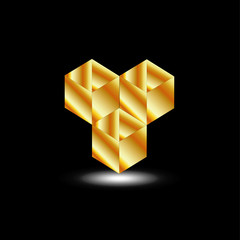 Golden boxes- logo for architect or construction business