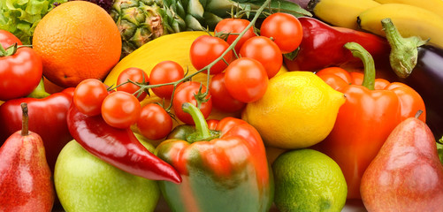 Background of vegetables and fruit set