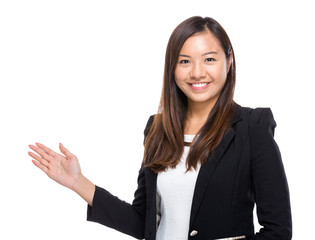 Businesswoman with hand present
