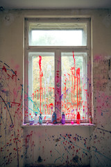 Window with color splashes
