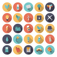 Flat design icons for energy