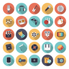Flat design icons for leisure and entertainment