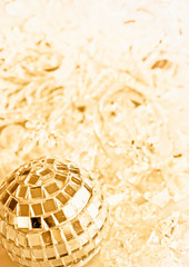 Close up of golden Christmas decorations