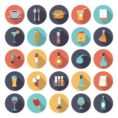 Flat design icons for food and drinks industry