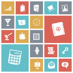 Flat design icons for business and finance.