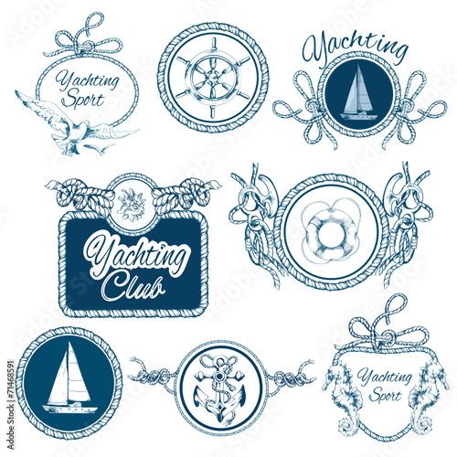 Yachting sketch emblems set - 71468591