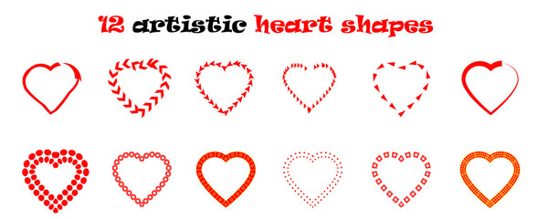 Heart shapes vector set
