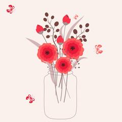 Floral bouquet  vector background