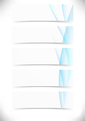 Blue smooth wave lines cards set - web banner