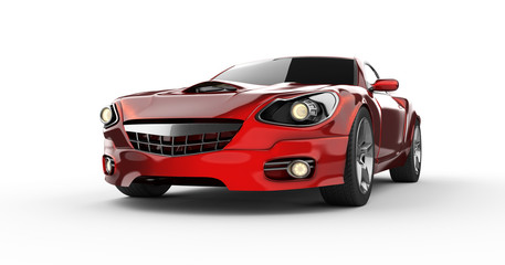 luxury brandless red sport car at white background
