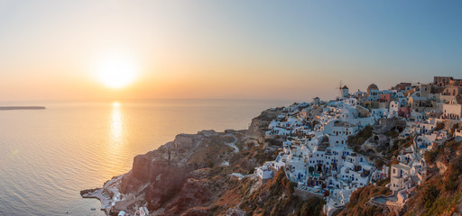 View on Oia in Santorini at sunset