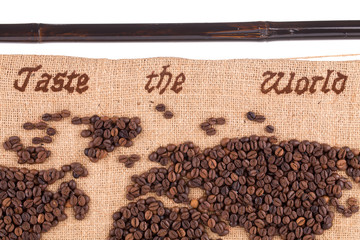 Map fragment of coffee beans.